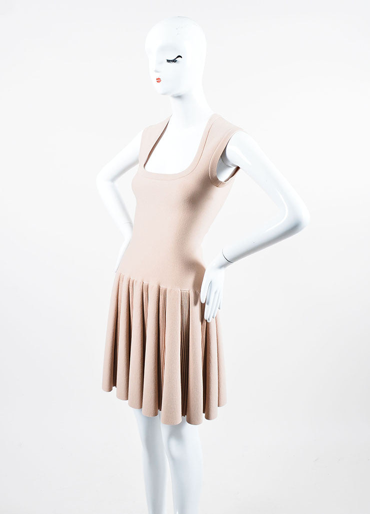 Beige Alaia Sleeveless Scoop Neck Pleated Dress Sideview