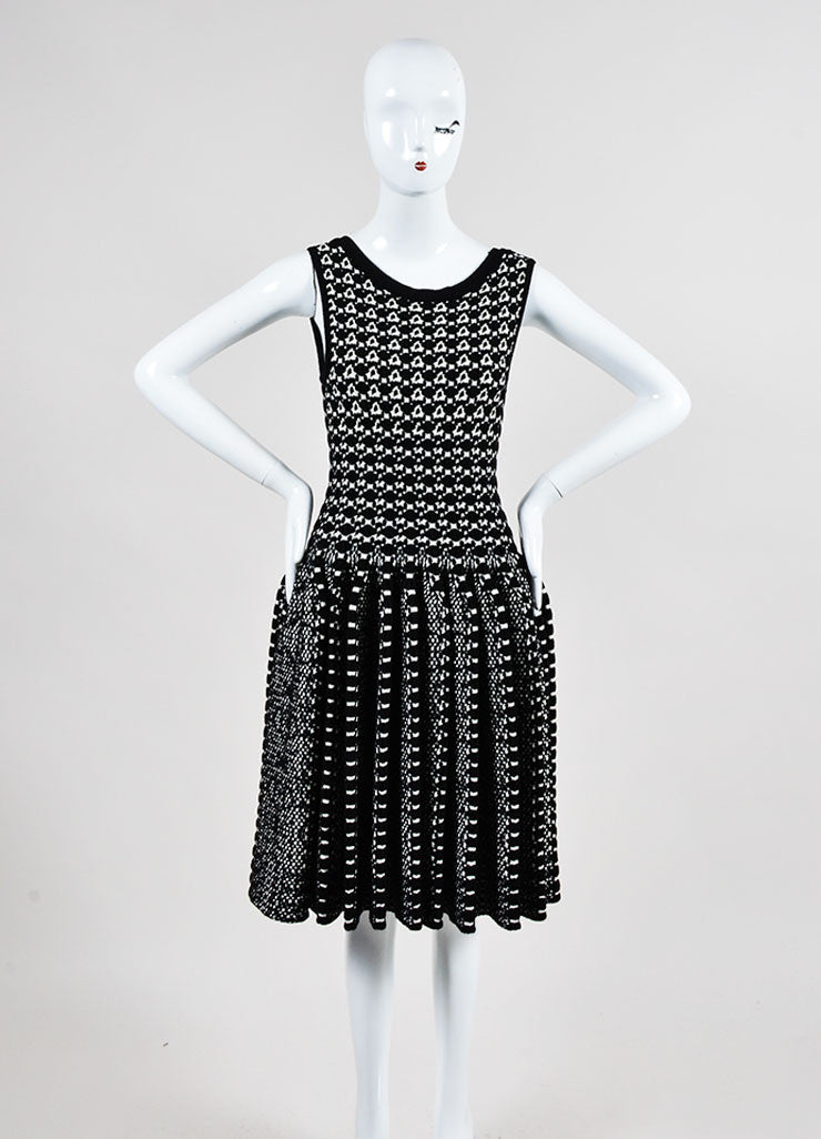 Black and White Alaia Thick Knit Patterned Pleated Flare Dress Frontview