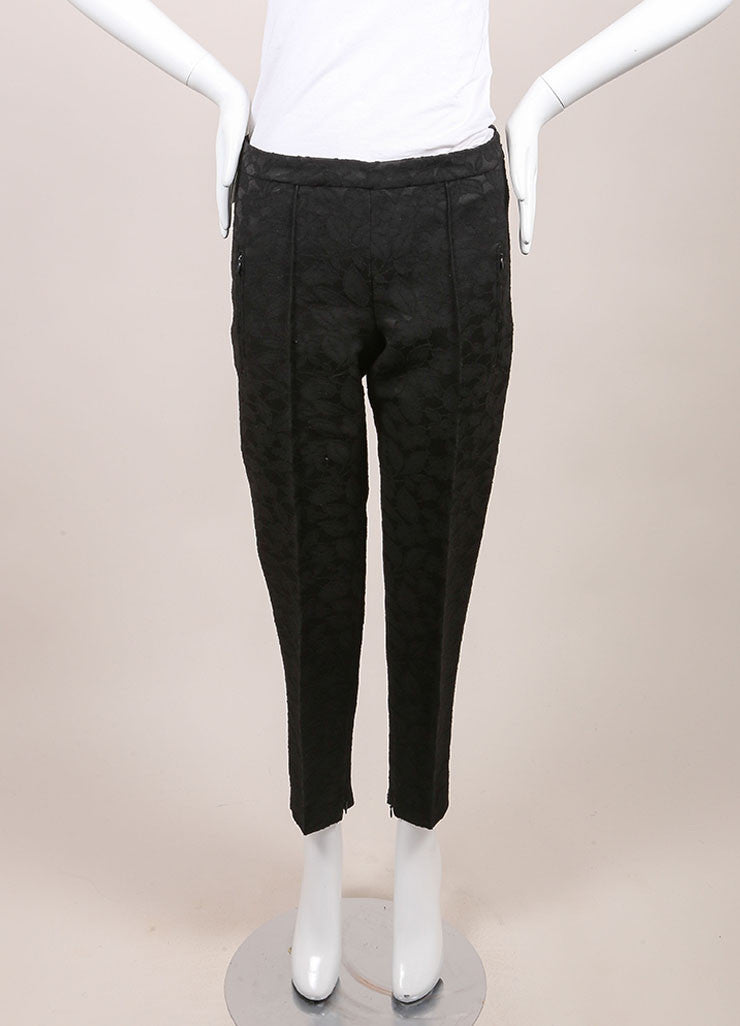 Andrew Gn New With Tags Black Floral Embroidered Wool Blend Ankle Trousers Frontview