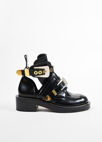 "Balenciaga Black Leather Dual Buckle and Cutout ""Ceinture"" Boots Sideview"