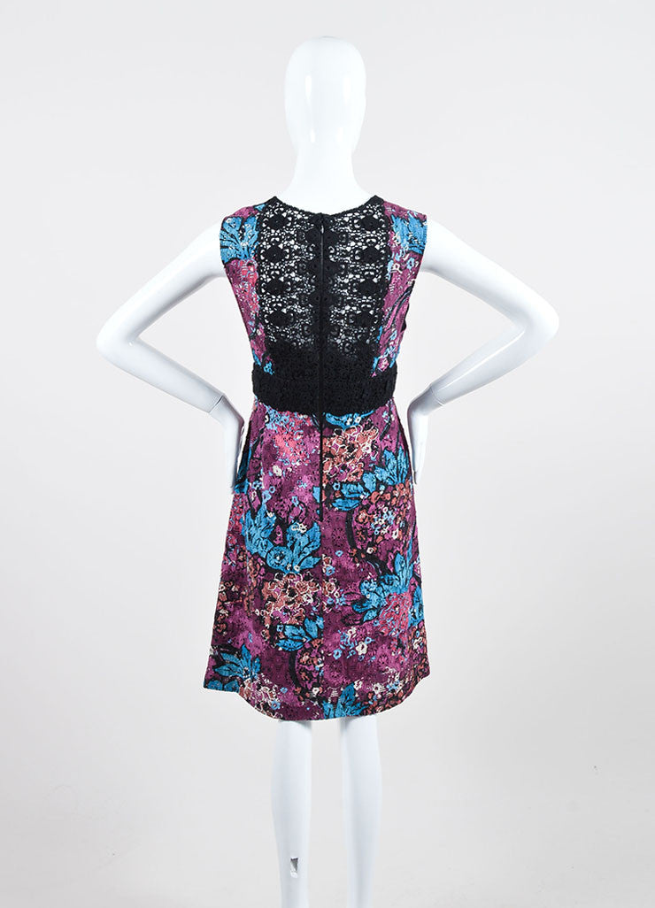 Purple Burberry Prorsum Floral Italian Lace Inset Shift Dress Backview