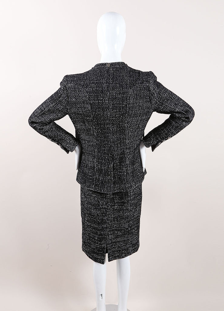 Chanel Black and White Wool Blend Tweed Skirt Suit Backview