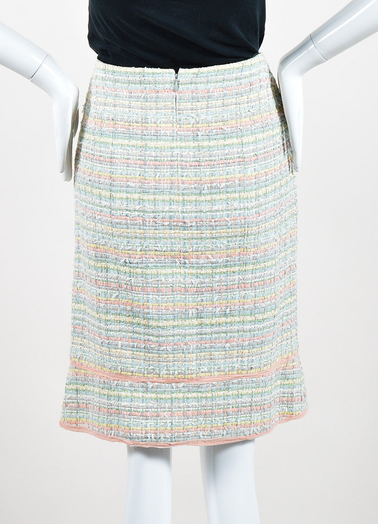 Multicolor Pastel Chanel Silk Blend Ribbon Skirt Backview