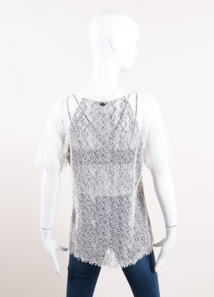 Chanel Black and Cream Semi-Sheer Lace Short Sleeve V-Neck Top Backview
