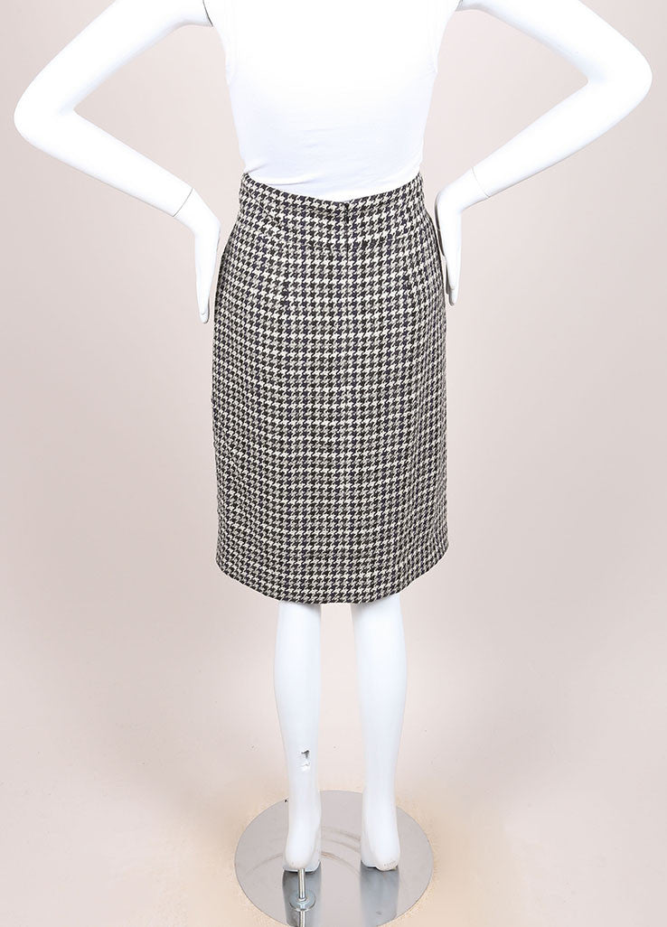 Chanel Black and White Houndstooth Knit Pleated Knee Length Pencil Skirt Backview