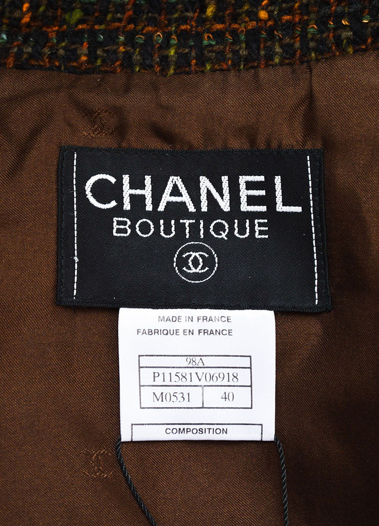 Chanel Brown Wool Tweed Clear Flower Button Jacket Brand