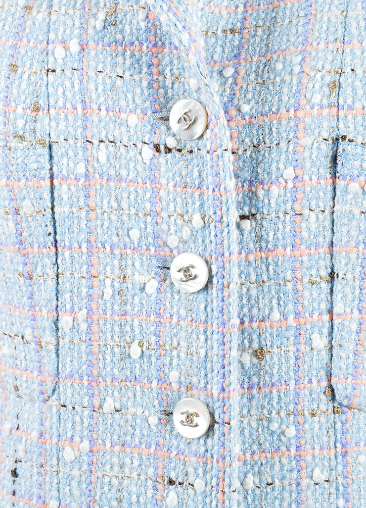 "Chanel Light Blue and Multicolor Wool and Cotton ""CC"" Button Tweed Coat Detail"