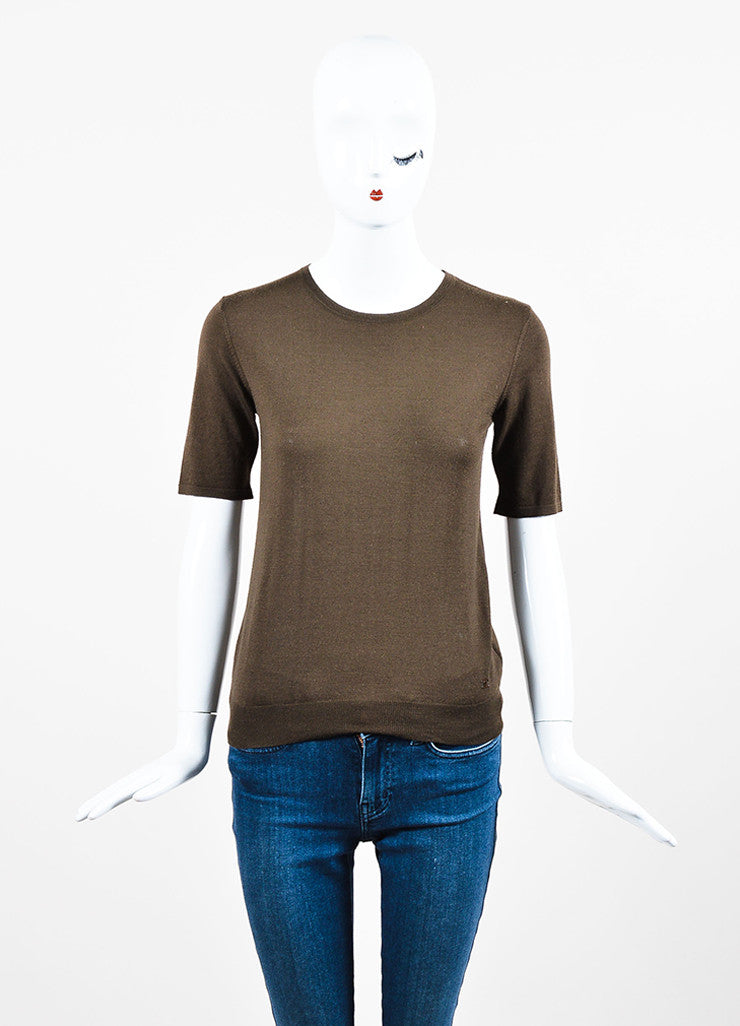 Chanel Brown Wool Knit Crew Neck Short Sleeve Top Frontview