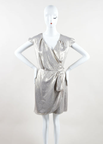 Christian Dior Metallic Silver Silk Lamí_Œ© Cap Sleeve Wrap Dress Front