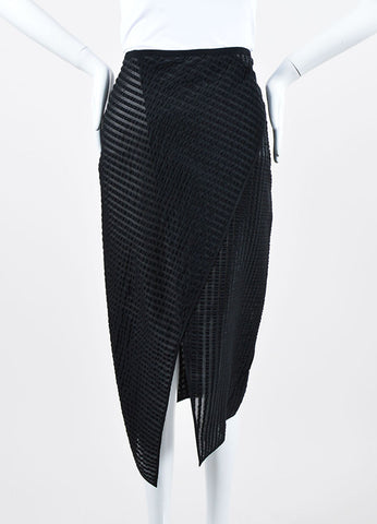 "Black Erdem Seersucker Stripe ""Caroline"" Midi Asymmetric Skirt Frontview"