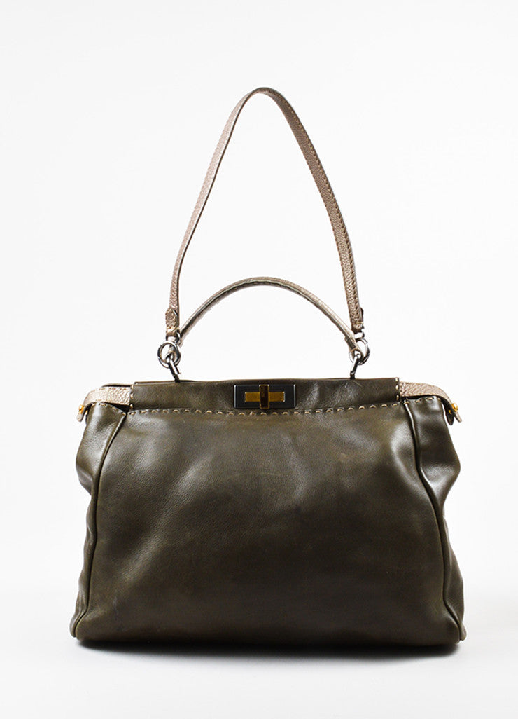 "Olive Green and Grey Leather Fendi Selleria ""Large Peekaboo"" Satchel Bag Frontview"