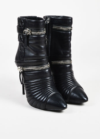 Giuseppe Zanotti Black Leather Quilted Silver Toned Zipper Heeled Booties Frontview