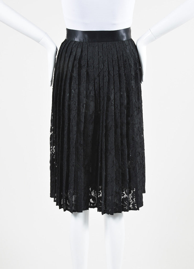 Black Givenchy Floral Lace Satin Trim Pleated Midi Skirt Backview