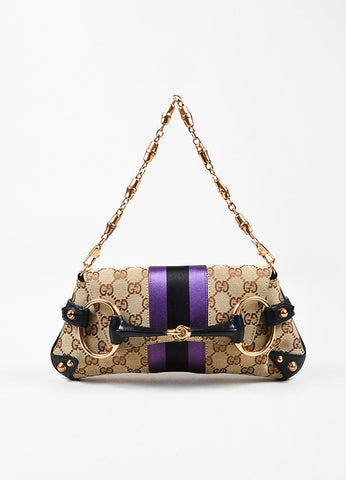 Gucci Beige, Black, and Purple Canvas Satin Leather Metal Horsebit Monogram Bag Frontview