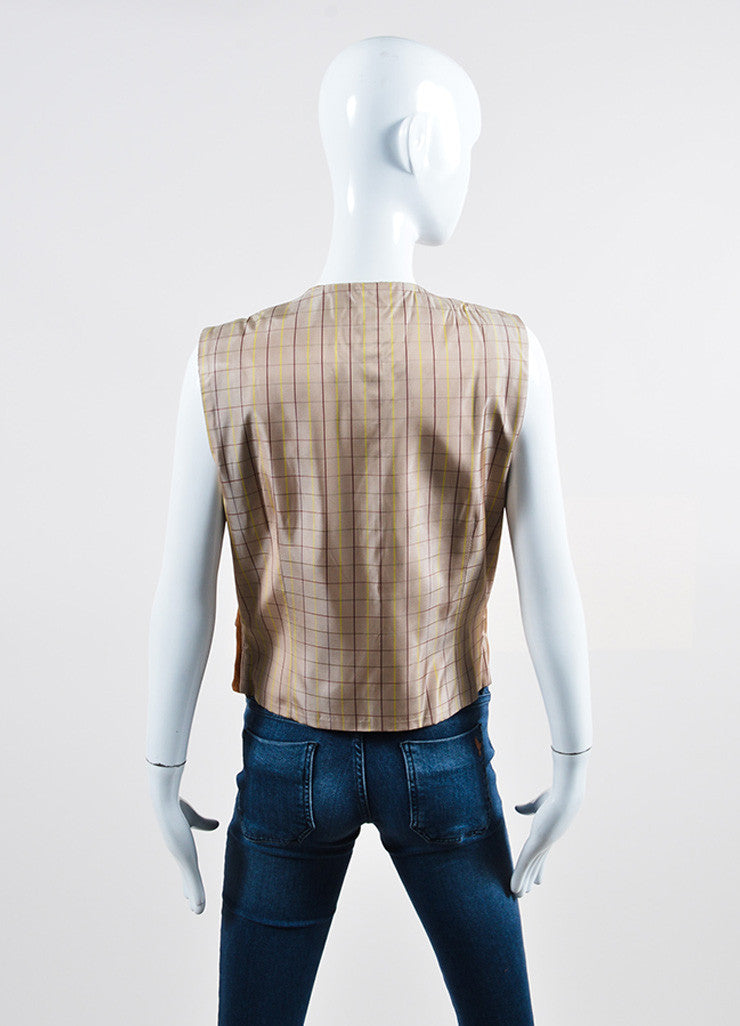 Brown Hermes Suede Leather and Satin Plaid Button Up Vest Backview