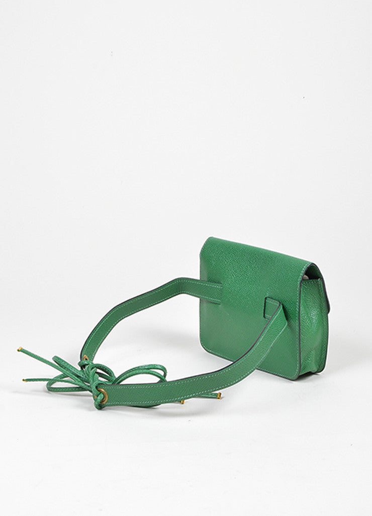Green Hermes Leather Pouch Tie Snap Fanny Pack Small Belt Bag Backview