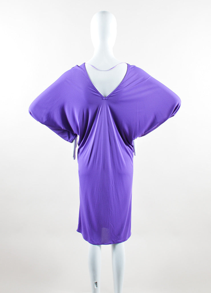 Hermes Purple Jersey V-Neck Dolman Sleeve Dress Backview