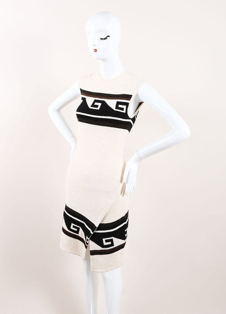 "Isabel Marant Cream Geometric Trim Sleeveless Knit ""Sandy"" Dress Sideview"