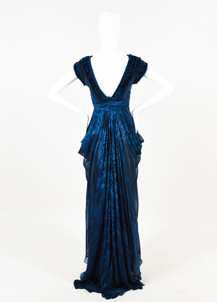 J. Mendel Navy and Black Silk Watercolor Print Ruffle Pleated Sleeveless Gown Backview