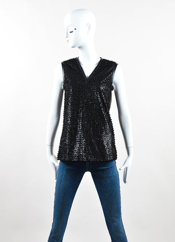 J. Mendel Black Leather Coated Textured Sleeveless Top Frontview