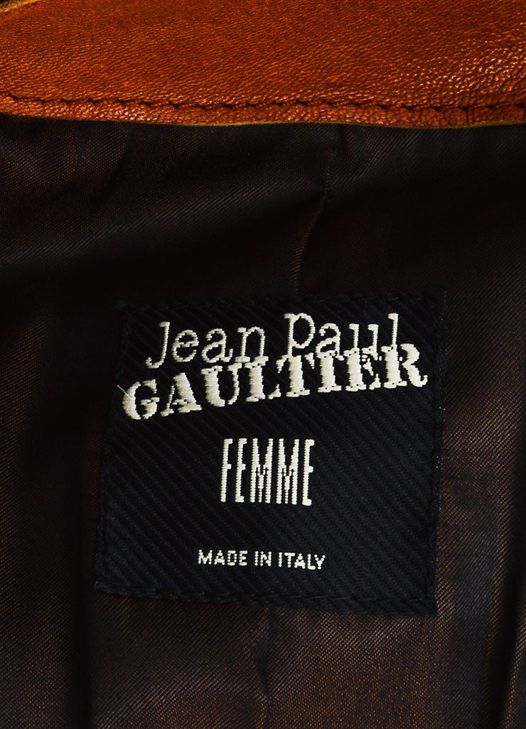 Cognac Jean Paul Gaultier Leather Belted Moto Jacket Brand