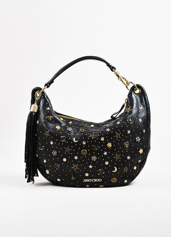 "Black Jimmy Choo Leather Studded Embellished ""Solar Zodiac"" Hobo Bag Front"