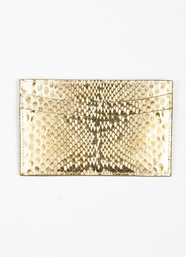 Judith Leiber Metallic Gold and Cream Karung Snakeskin 5 Slot Card Holder Frontview