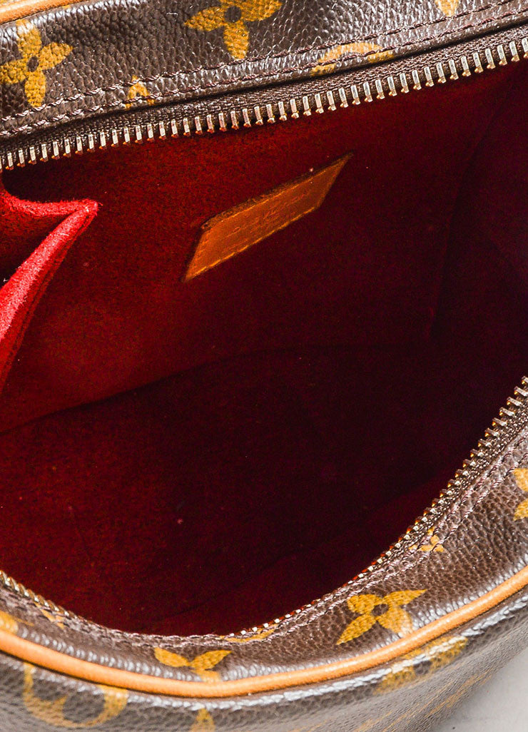 "Louis Vuitton Brown and Tan Coated Canvas Monogram ""Croissant MM"" Shoulder Bag Interior"