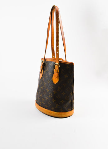"Brown Louis Vuitton Coated Monogram Canvas Leather ""Petit Bucket"" Bag Back"