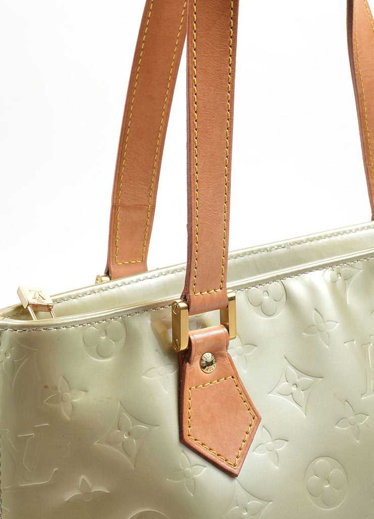 Louis Vuitton Pale Green Patent Leather Monogram Tote Detail 6