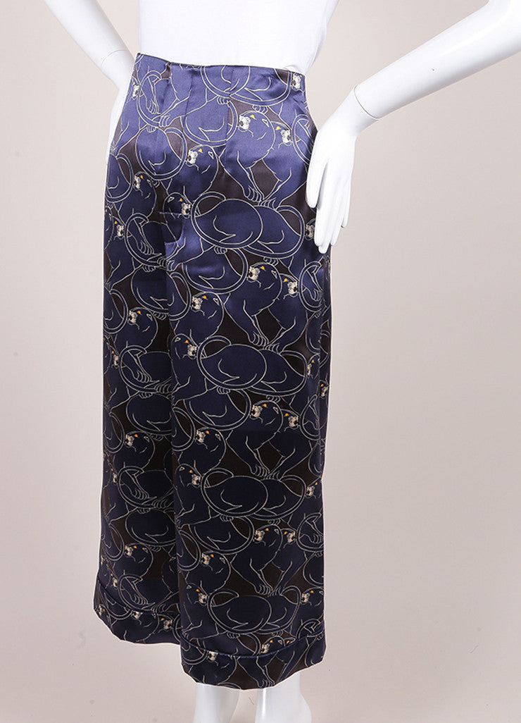 "Marc Jacobs New With Tags Navy and Black Silk ""Disco Panther"" Gaucho Culotte Pants Sideview"