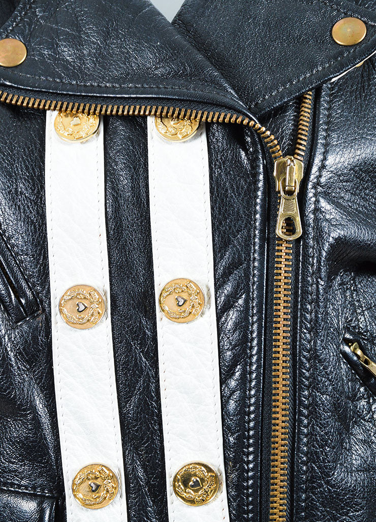 Moschino Cheap and Chic Black and White Leather Striped Moto Jacket Detail