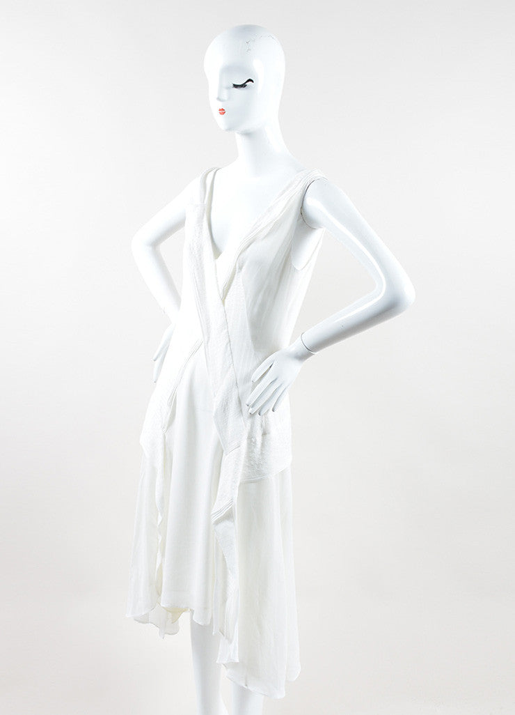"Mulberry White Silk Ruffle Asymmetrical ""Blossom"" Flounce Dress Sideview"