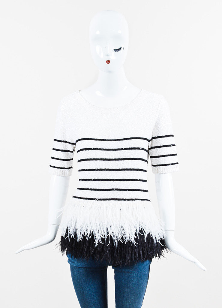 White and Black Oscar de la Renta Silk Knit Sequin Feather Striped Short Sleeve Top Frontview