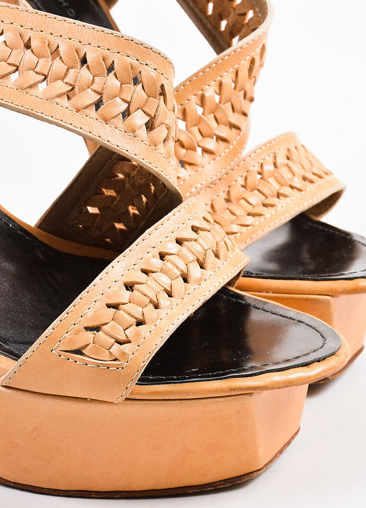 Proenza Schouler Light Tan Woven Leather Platform Sandal Heels Detail