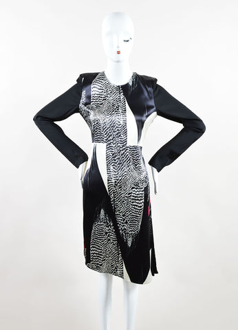 Reed Krakoff Black and White Printed Asymmetric Long Sleeve Shift Dress Frontview