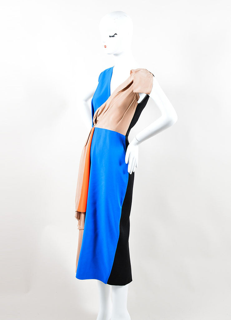 Blue, Black, and Tan Roksanda Silky Wool Color Block Sleeveless Dress Sideview