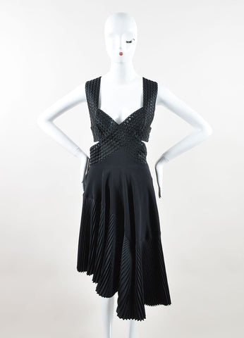 Stella McCartney Black Chiffon Pleated Backless Sleeveless Dress Frontview