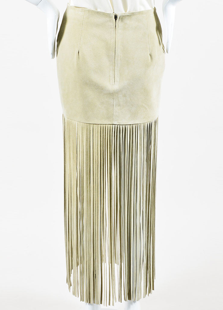 "Sand Beige The Perfext Suede Leather ""Mimi 24"" Fringe Midi Skirt Backview"