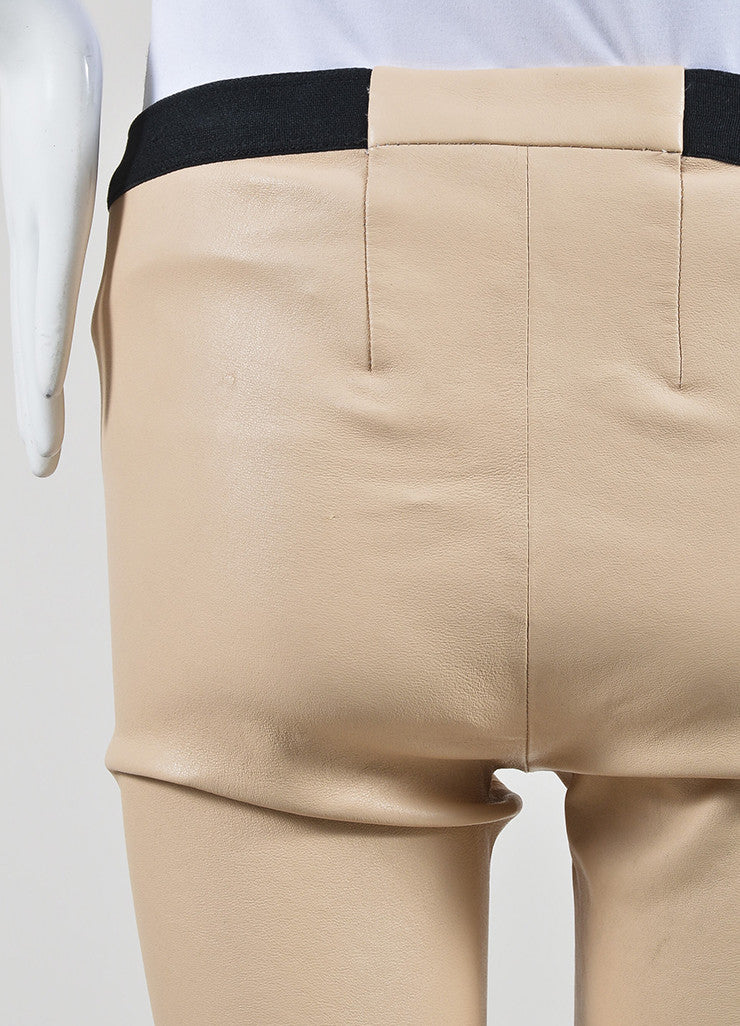 The Perfext Nude Beige and Black Leather Skinny Legging Pants Detail