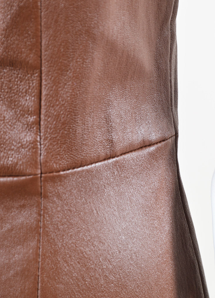 The Row Brown Leather Sleeveless Sheath Dress Detail