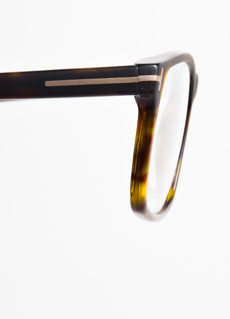 Tom Ford Black, Brown, and Yellow Square Frame Optical Eyeglasses Detail