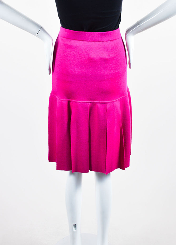Magenta Pink Chanel Wool Knit Pleated Knee Length Skirt Backview