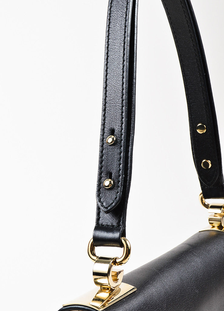 "Gucci Black Leather ""1973 Small Top Handle"" Shoulder Bag Detail 2"