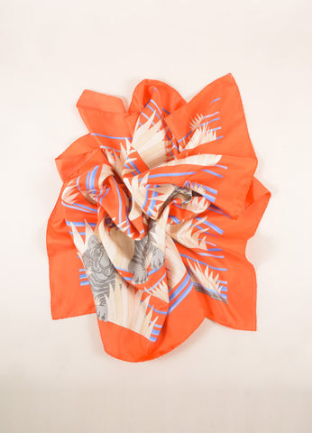 Hermes Orange and Blue Tiger Print Silk Scarf Frontview