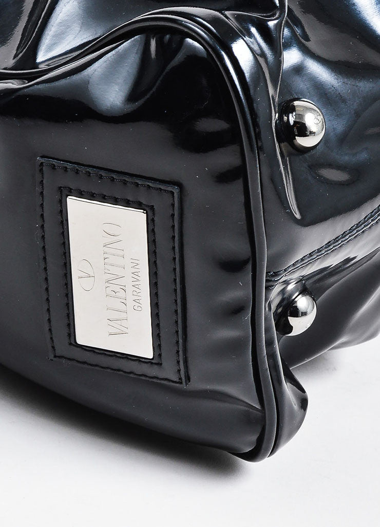 Black Valentino Patent Leather Bow Ruched Handbag Bowler Satchel Bag Detail