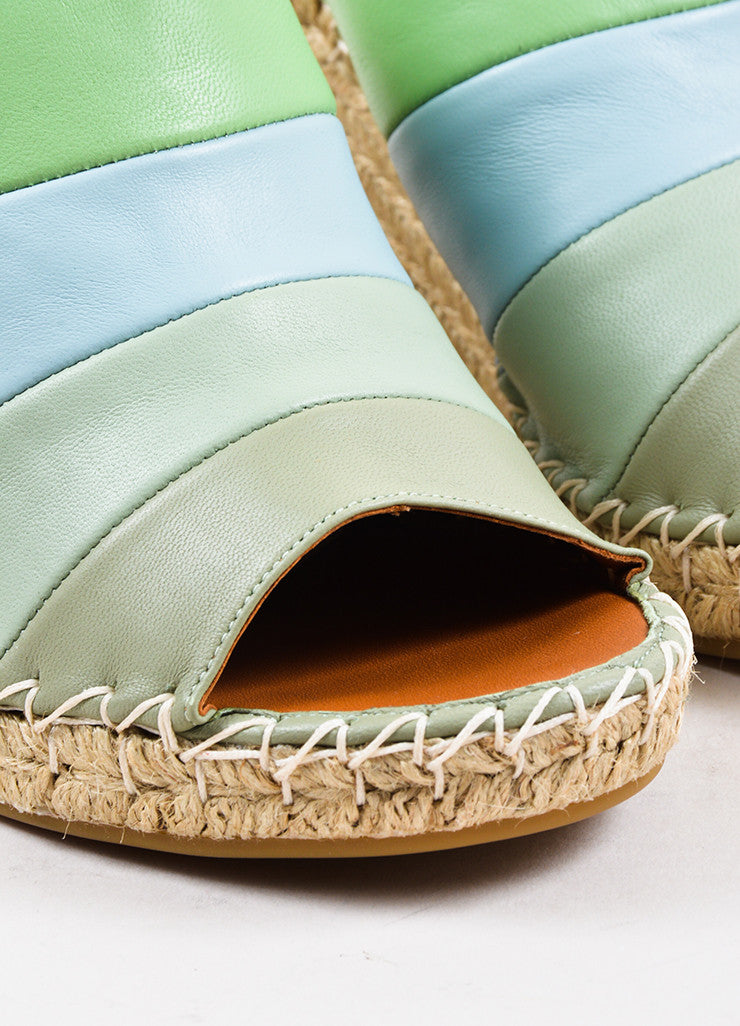 Valentino Green and Blue Leather Striped Espadrille Wedge Sandals Detail