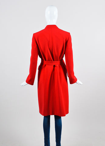Red Valentino Roma Woolen Double Breasted Belted Trench Coat Backview