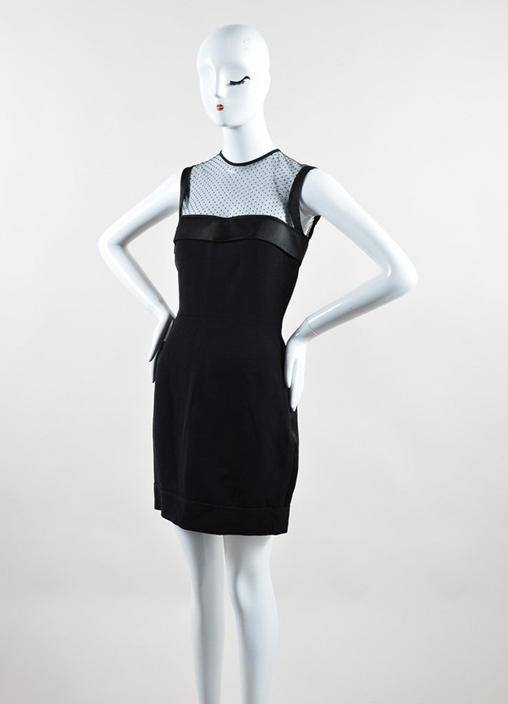 Victoria Beckham Black Crepe Sheer Yoke Fitted Sleeveless Cocktail Dress Sideview