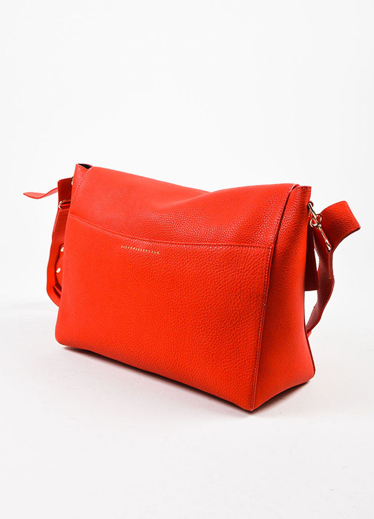 Crimson Red Victoria Beckham Calf & Lambskin Soft Shoulder Bag Back